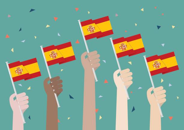hands holding up spain flags - columbus day stock illustrations