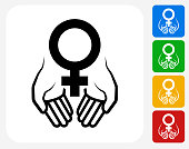 Hands Holding Venus Symbol Icon. This 100% royalty free vector illustration features the main icon pictured in black inside a white square. The alternative color options in blue, green, yellow and red are on the right of the icon and are arranged in a vertical column.