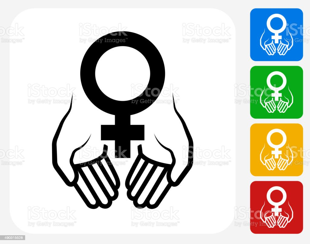 Hands Holding Venus Symbol Icon Flat Graphic Design vector art illustration