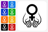 Hands Holding Venus Symbol Icon Square Button Set. The icon is in black on a white square with rounded corners. The are eight alternative button options on the left in purple, blue, navy, green, orange, yellow, black and red colors. The icon is in white against these vibrant backgrounds. The illustration is flat and will work well both online and in print.