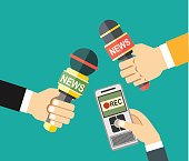 hands holding voice recorder, microphone. Mass media and press conference concept. journalism. vector illustration in flat style on green background