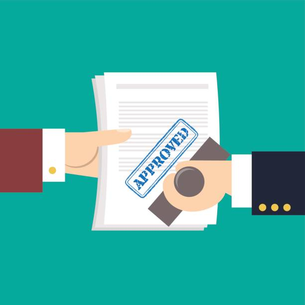 """Hands holds document with stamp approved on it Hands holding paper with stamp """"Approved"""" on it. Vector illustration. Trendy flat design. Design concept for business and life style. civil servant stock illustrations"""