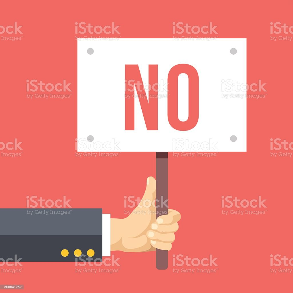 Hands holds sign with NO word. Social protest, negative reaction vector art illustration