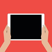 Hands holing tablet computer with a black screen.  Using digital tablet pc. Vector illustration