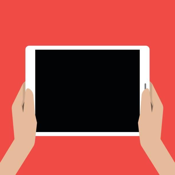 ilustrações de stock, clip art, desenhos animados e ícones de hands holing tablet computer with a black screen - segurar