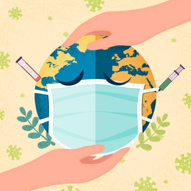 ilustraciones, imágenes clip art, dibujos animados e iconos de stock de manos humanas sosteniendo el planeta tierra con una máscara médica. pandemia de coronavirus y concepto de cuarentena devid-19. ilustración vectorial. - covid 19 vaccine