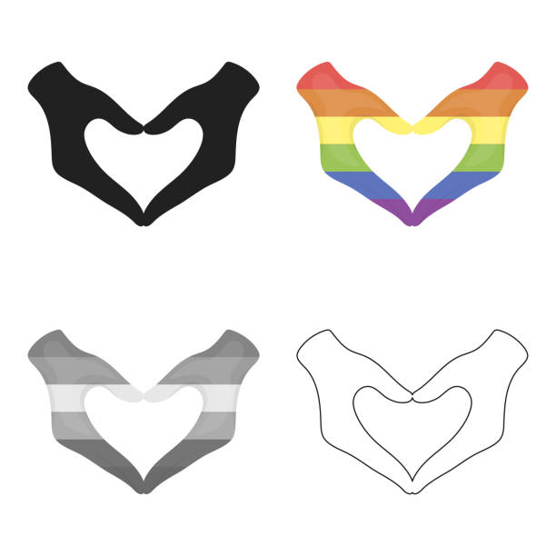 hands icon cartoon. single gay icon from the big minority, homosexual cartoon. - minority stock illustrations, clip art, cartoons, & icons
