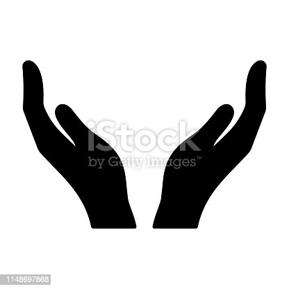 Hands icon. Cupped hands vector