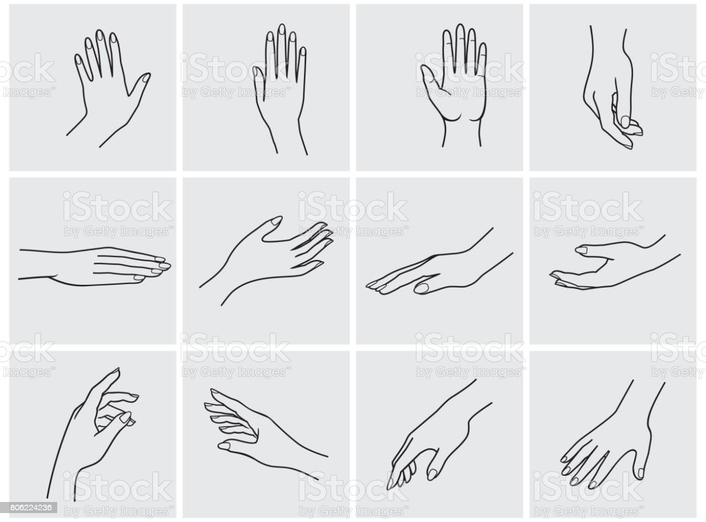 hands icon set vector art illustration