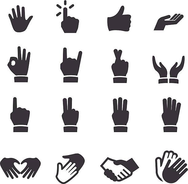 stockillustraties, clipart, cartoons en iconen met hands icons - acme series - wijzen handgebaar