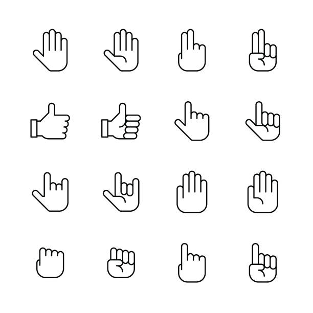 Hands icons - Line Hands icons - Line Vector EPS File. stop stock illustrations