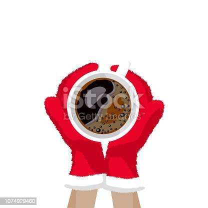Vector illustration of hands in Christmas mittens hold a cup of coffee