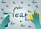 Hands in green gloves with sponge and spray erase the word fear, flat vector with noise and texture.