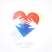 touching hands and heart shape made as watercolor image.