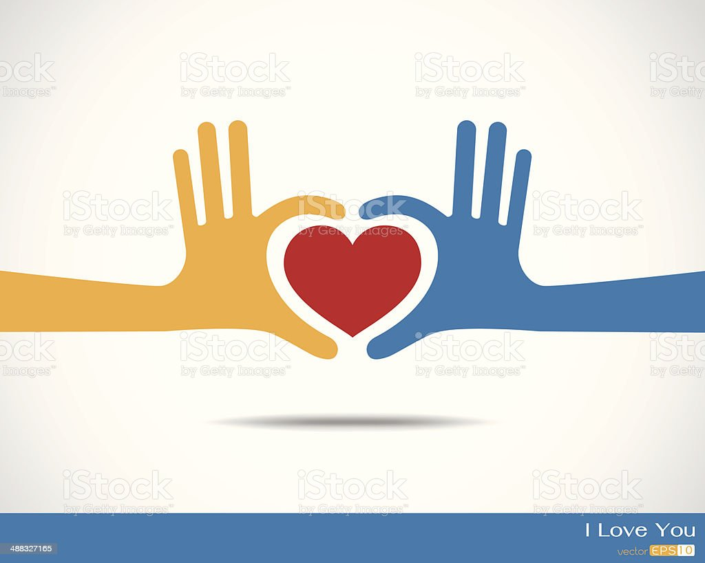 Hands in the form of heart vector art illustration