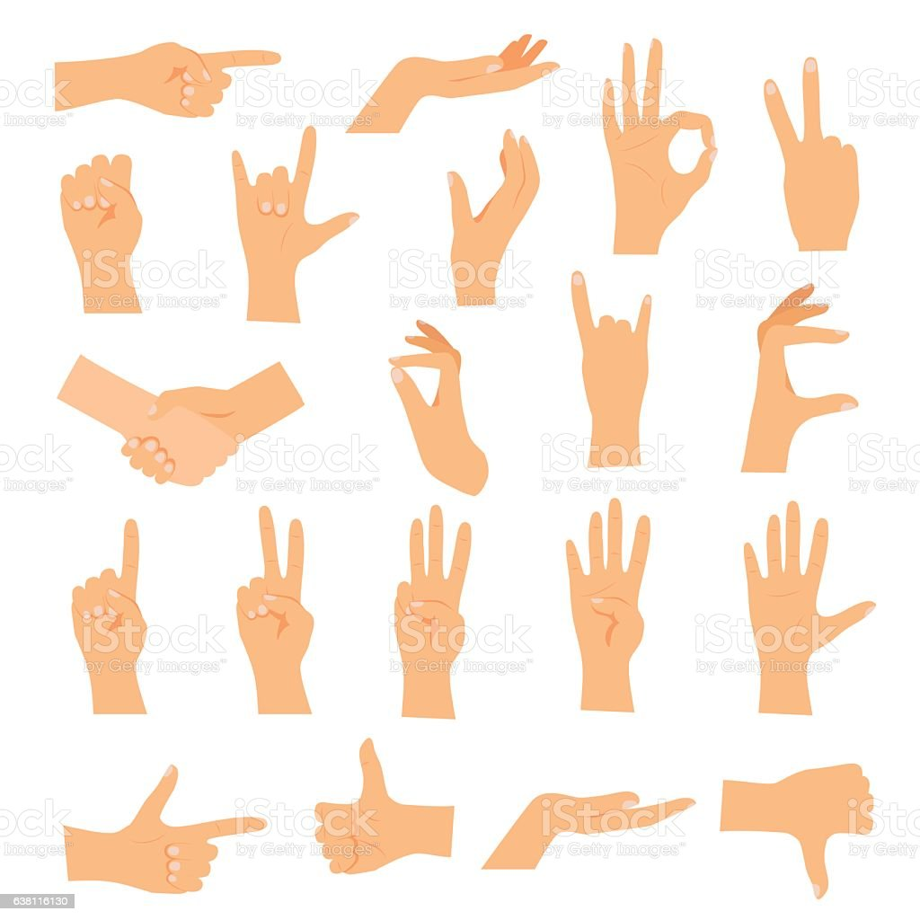 hands in various gestures flat design modern vector stock vector art rh istockphoto com vector handshake icon vector hands shaking