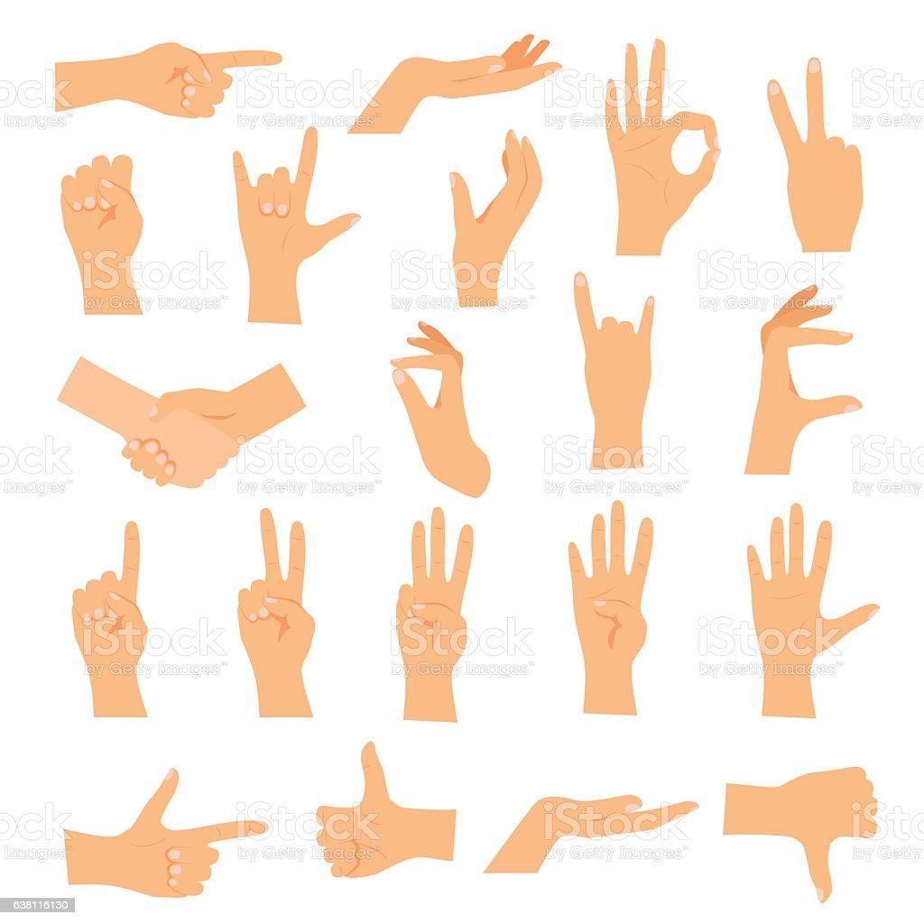Hands in various gestures. Flat design modern vector vector art illustration