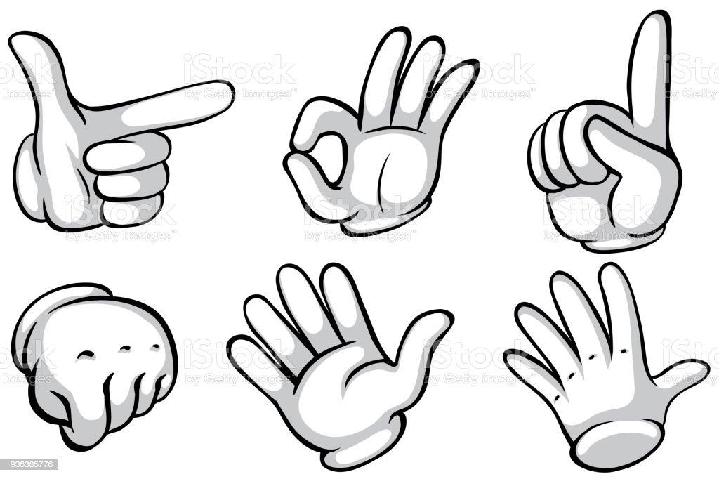 Hände in weißen Handschuhen sechs Taten – Vektorgrafik