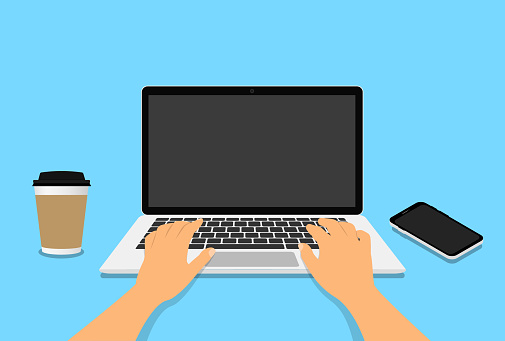 Hands in work at laptop  keyboard with blank monitor screen at table. Work place with a glass of coffee, telephone. Vector illustration. EPS 10