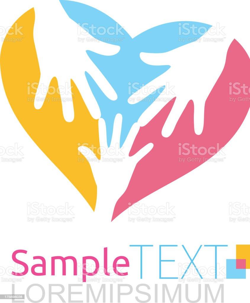 Hands inside heart royalty-free stock vector art