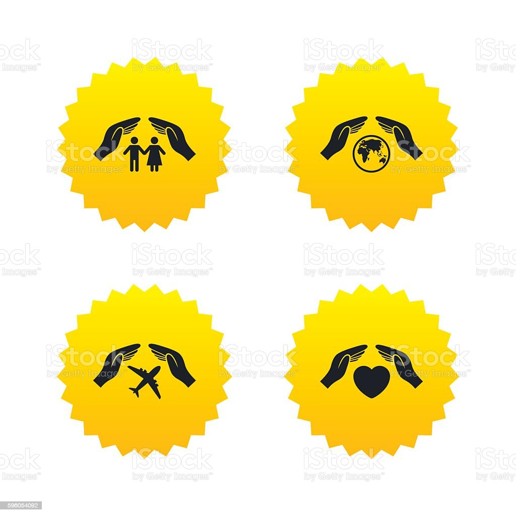 Hands insurance icons. Human life-assurance. royalty-free hands insurance icons human lifeassurance stock vector art & more images of badge