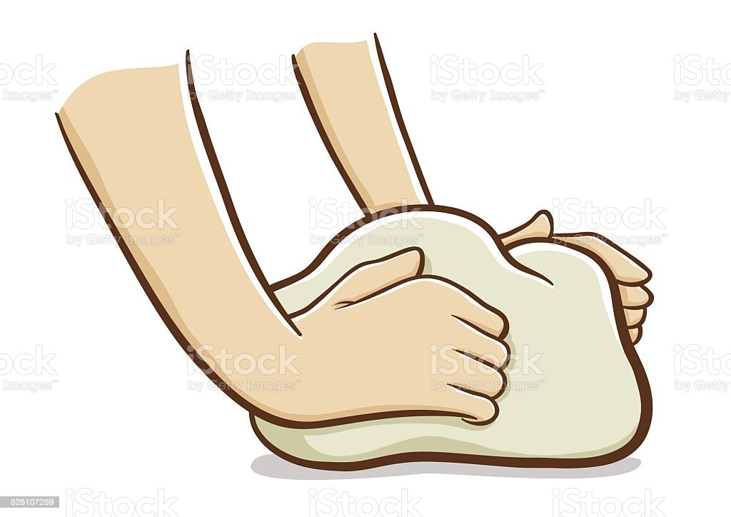 Hands kneading dough vector art illustration