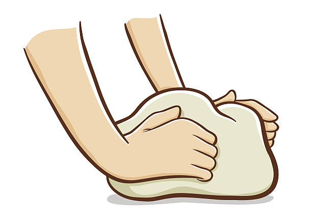 Hands kneading dough Vector illustration of a pair of hand kneading dough kneading dough stock illustrations