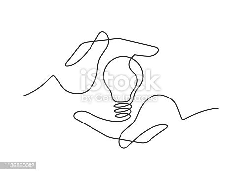 Continuous line drawing of lightbulb between two  human hands  as a symbol of ideas. Ceative problem solving. Result creative approach. Electric lamp in hand. Vector illustration