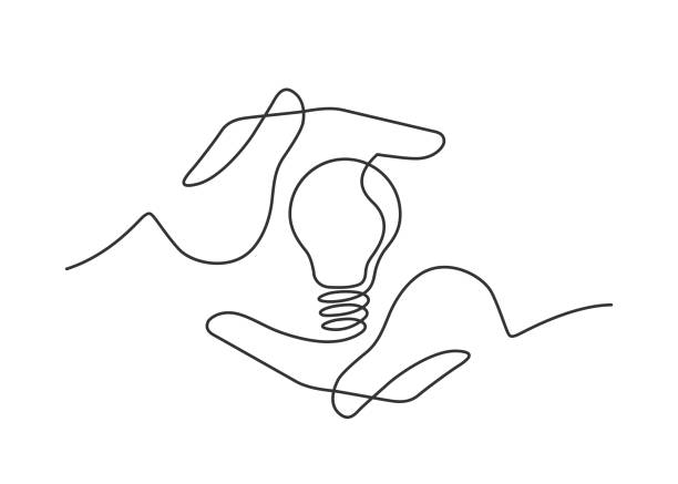 hands lamp one line - lineart stock illustrations