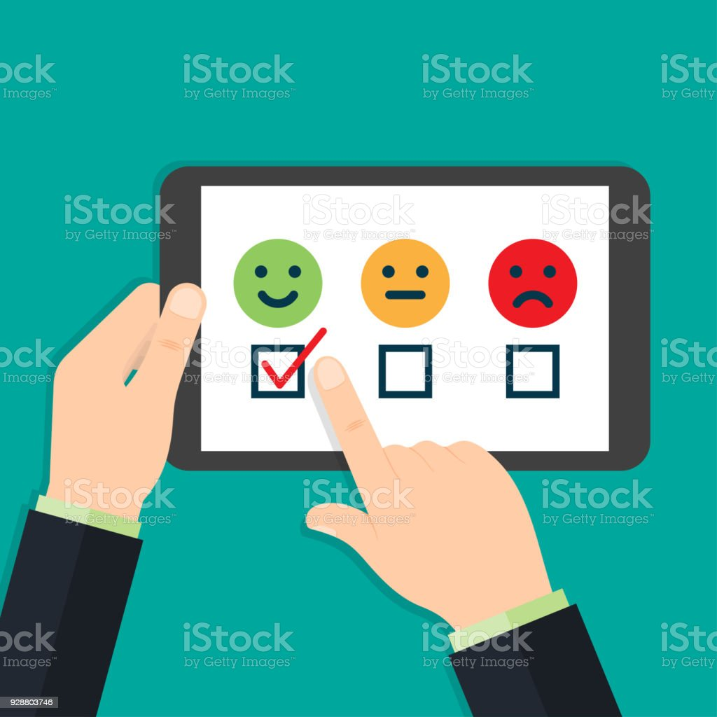 Hands leaving positive feedback vector art illustration