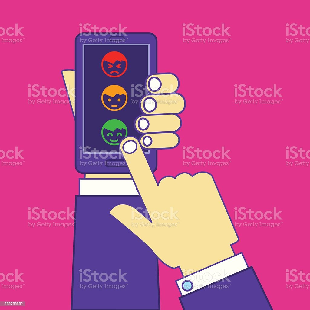 Hands leaving postive feedback or rate via smartphone touchscreen vector art illustration