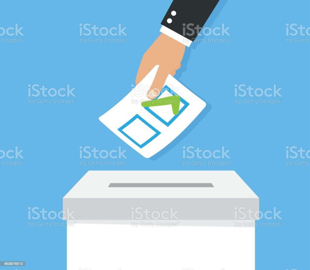 Hands leaving votes. Voting vector art illustration