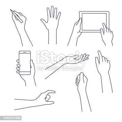 Business concept of hand in many characters, presenting, showing, using tablet and smart phone, writing. Hand line vector design set. Editable stroke.