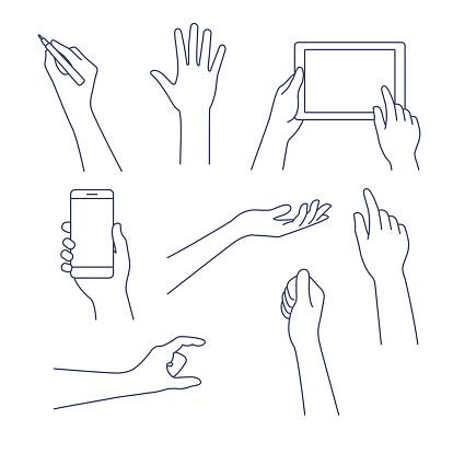Hands line icon. Vector illustration. Editable stroke.