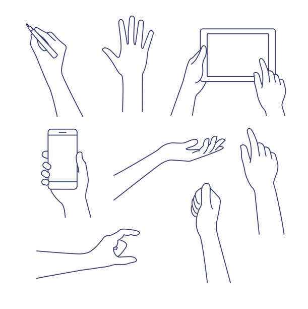 Hands line icon. Vector illustration. Editable stroke. Business concept of hand in many characters, presenting, showing, using tablet and smart phone, writing. Hand line vector design set. Editable stroke. hand stock illustrations