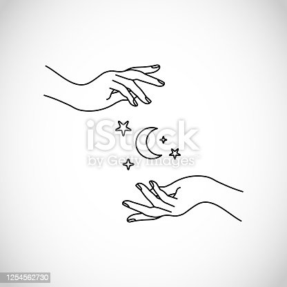 istock Hands line style with moon and stars vector, boho, hipster, sacred 1254562730