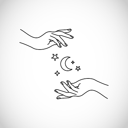 Hands line style with moon and stars vector, boho, hipster, sacred