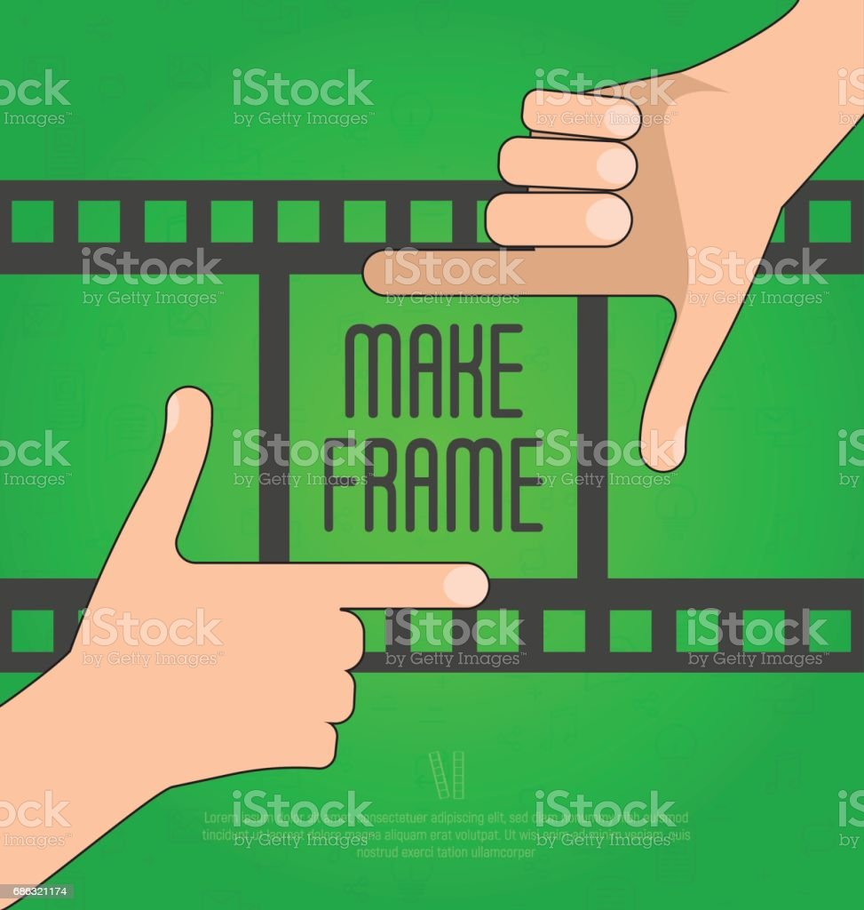 Hands Make A Rectangular Frame With Film On The Background Concept ...
