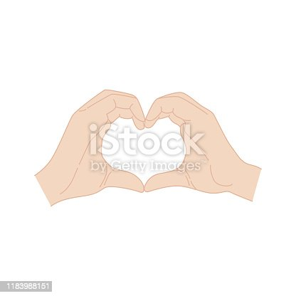 istock Hands making a heart symbol. Valentine's day poster. Isolated k-pop hand 1183988151