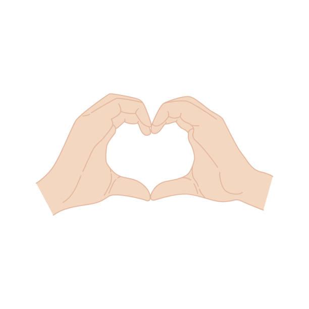 illustrazioni stock, clip art, cartoni animati e icone di tendenza di hands making a heart symbol. valentine's day poster. isolated k-pop hand - mano donna dita unite