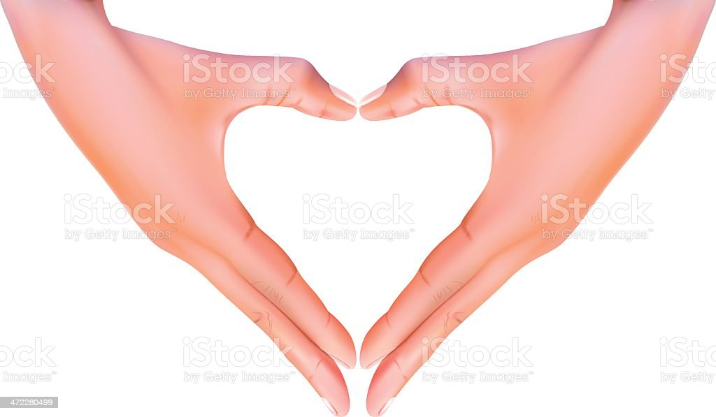 Hands making a love heart - VECTOR royalty-free stock vector art