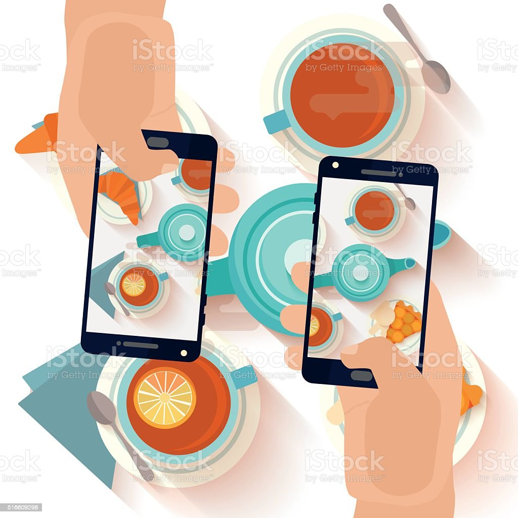 Hands making a smartphone photo of breakfast vector art illustration