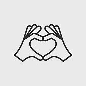 istock Hands making heart shape gesture. Protect, respect, save icon concept. Simple outline icon isolated on white background. Vector illustration 1250060989