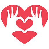 Two hands making the heart shape symbol, isolated, vector illustration.