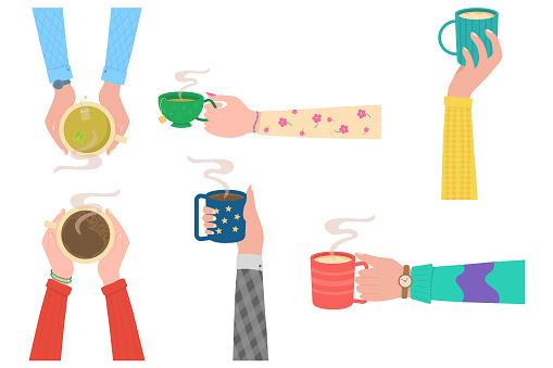 Hands, mug cup.