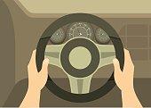 human hands drive a car behind the wheel kept visible dashboard panel