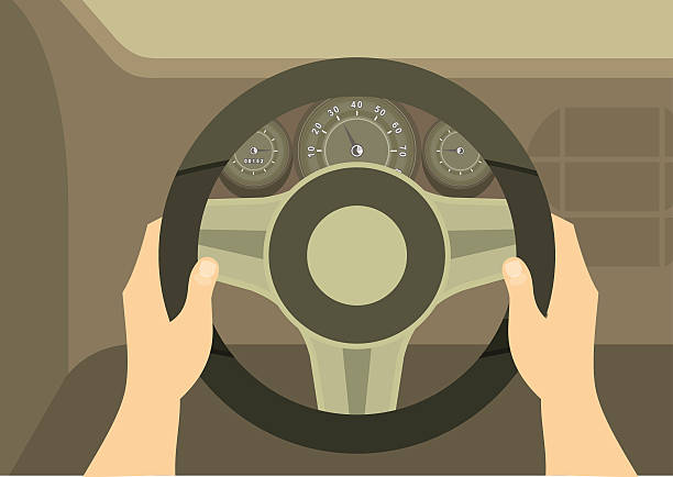 Hands Of A Driver On Steering Wheel Of A Car human hands drive a car behind the wheel kept visible dashboard panel steering wheel stock illustrations