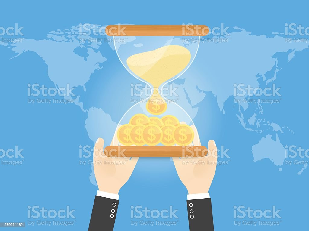 hands of businessman with hourglass filled with coin of gold - arte vettoriale royalty-free di Adulto