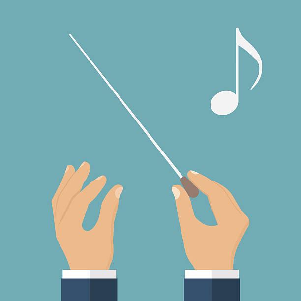 hands of conductor orchestra - bandleader stock-grafiken, -clipart, -cartoons und -symbole