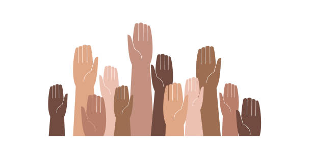illustrazioni stock, clip art, cartoni animati e icone di tendenza di hands of different skin colors raised up - mano donna dita unite